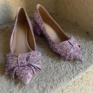 ASOS Pink Glitter Kitten Point Toe Block Heel 5